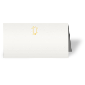 ForYourParty's chic Strathmore White Signature Place Card with Shiny 18 Kt Gold Foil will impress guests like no other. Make this party unforgettable.