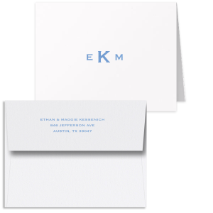 This Custom Natural Frost White Classic Note Card with a Satin French Blue Foil Monogram will impress guests like no other. Make this party unforgettable.