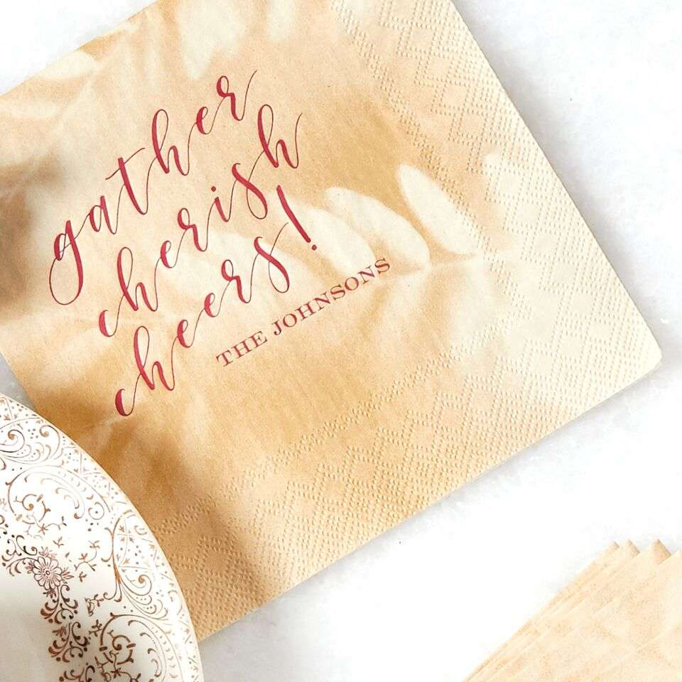 personalized holiday leaf print napkin