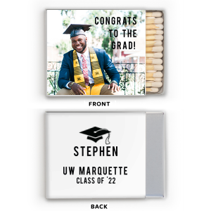 Personalized White Riviera Photo/Full Color Matchbox with Matte Black Ink Digital Print Colors has a Cap graphic and is good for use in Graduation themed parties and are a must-have for your next event—whatever the celebration!