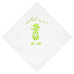 Our custom White Borderless Cocktail Napkin with Shiny Kiwi / Lime Foil has a Aloha graphic and a cute saying and is a fun edition to your travel, destination or whimsy Wedding party and related events and will make your guests swoon. Personalize your party's theme today.