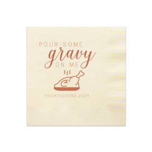 Custom Brick Cocktail Napkin with Satin 18 Kt. Gold Foil Color has a Plated Turkey graphic and is good for use in Food, Thanksgiving themed parties and are a must-have for your next event—whatever the celebration!