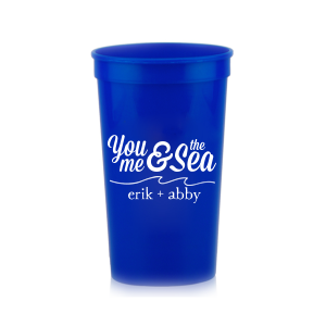 ForYourParty's chic Powder Blue 16 oz Stadium Cup with Matte White Ink Cup Ink Colors has a Wave Flourish graphic and is good for use in Beach/Nautical, Accents themed parties and will add that special attention to detail that cannot be overlooked.