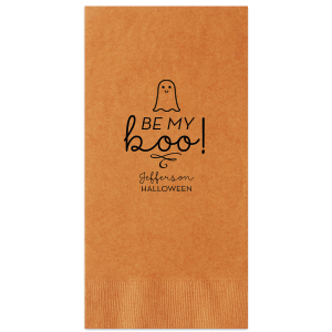 Our beautiful custom Burnt Sienna Cocktail Napkin with Matte Black Foil has a Baby Ghost graphic and is good for use in Halloween themed parties and will give your party the personalized touch every host desires.