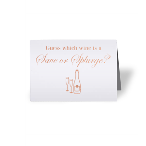 Our custom Natural Frost White Tempo Place Card with Shiny Rose Gold Foil has a Champagne graphic and is good for use in Drinks, Wedding themed parties and are a must-have for your next event—whatever the celebration!