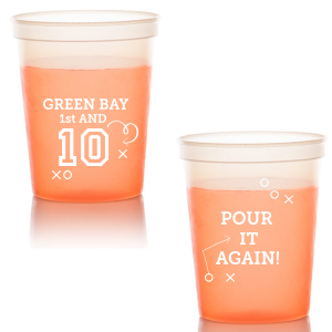 Custom Green 16 oz Stadium Cup with Matte White Ink Cup Ink Colors can't be beat. Showcase your style in every detail of your party's theme!