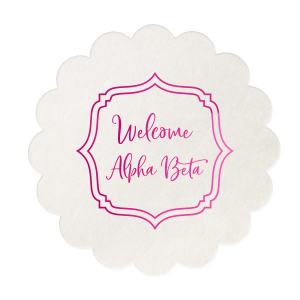 Our beautiful custom White Square Coaster with Shiny Fuchsia Foil can be customized to complement every last detail of your party.