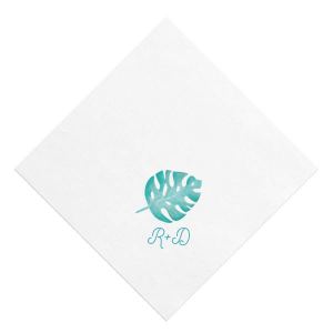 ForYourParty's elegant White Borderless Photo/Full Color Luncheon Napkin with Matte Teal/Peacock Ink Digital Print Colors will give your party the personalized touch every host desires.