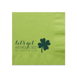 Custom Kiwi Cocktail Napkin with Matte Spruce Foil has a Four Leaf Clover graphic and is good for use in Holiday, St. Patricks Day themed parties and can be customized to complement every last detail of your party.