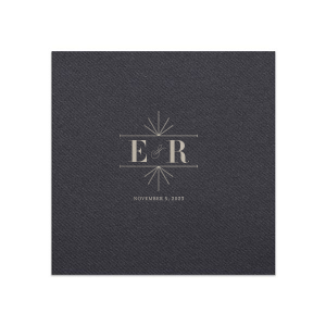 Our beautiful custom Black Cocktail Napkin with Shiny Sterling Silver Foil Color has a Line Frame graphic and is good for use in Wedding themed parties and can be customized to complement every last detail of your party.
