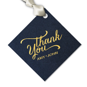 ForYourParty's chic Stardream Navy Large Round Gift Tag with Shiny 18 Kt Gold Foil has a Thank You 3 graphic and is good for use in Wedding, Words, Calligraphy themed parties and will look fabulous with your unique touch. Your guests will agree!