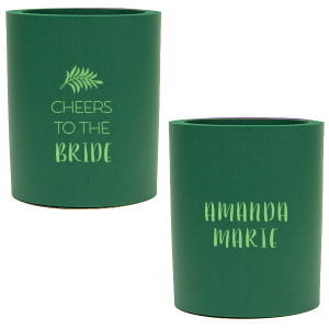 Our personalized Hunter Round Can Cooler with Matte Key Lime Ink Cup Ink Colors has a Leaves graphic and is good for use in Floral themed parties and will make your guests swoon. Personalize your party's theme today.