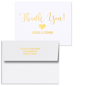 ForYourParty's chic Natural Frost White Classic Note Card with Shiny 18 Kt Gold Foil has a Heart Solid graphic and is good for use to say Thank You with a warm heart and can be customized to complement every last detail of your party.
