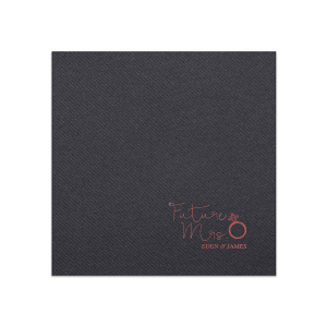 ForYourParty's chic Black Luncheon Napkin with Shiny Rose Quartz Foil has a Diamond Ring graphic and is good for use in Fashion, Wedding, Bridal Shower themed parties and are a must-have for your next event—whatever the celebration!
