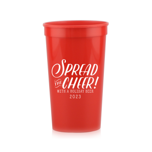 The ever-popular Red 16 oz Stadium Cup with Matte White Ink Cup Ink Colors can be personalized to match your party's exact theme and tempo.