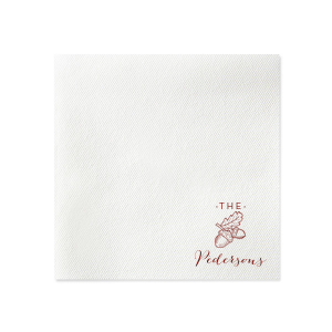 Personalized Moss Green Linen Like Dinner Napkin with Matte Merlot Imprint Foil Color has a Forest graphic and is good for use in Rustic, Nature themed parties and are a must-have for your next event—whatever the celebration!