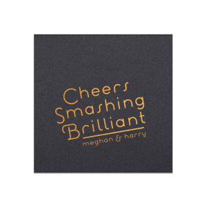 For Your Party's personalized Black Cocktail Napkin with Shiny Copper Foil can be customized to complement every last detail of your party.