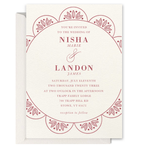 Custom Scallop Invitation on our Lettra Pearl White Paper Invitation has a Zen Wreath graphic and is good for use in Botanical themed parties and can't be beat. Showcase your style in every detail of your party's theme!