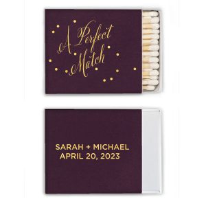 ForYourParty's chic Natural Amethyst Classic Matchbox with Shiny 18 Kt Gold Foil will look fabulous with your unique touch. Your guests will agree!