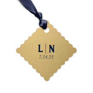 Our custom Stardream Champagne Heart Gift Tag with Matte Navy Foil Color can't be beat. Showcase your style in every detail of your party's theme!