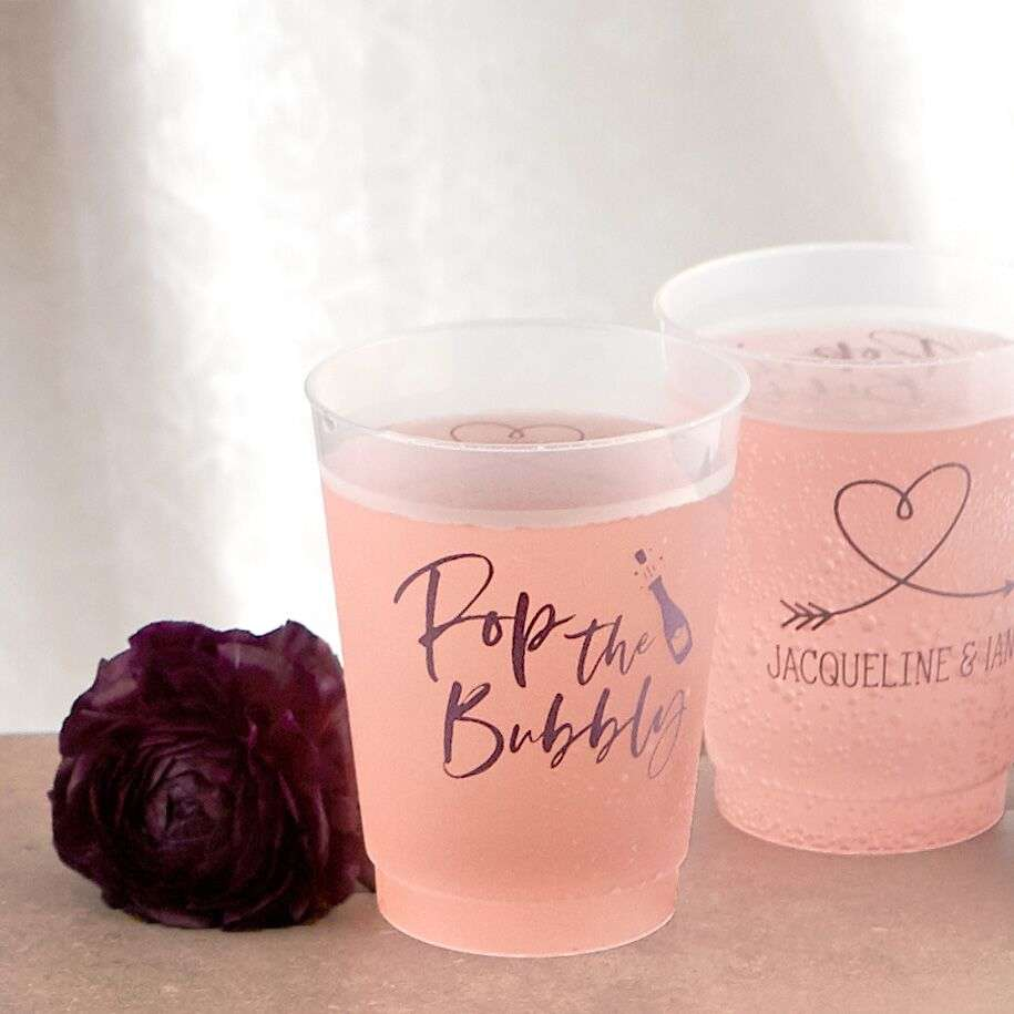 coordinating frosted wedding cups