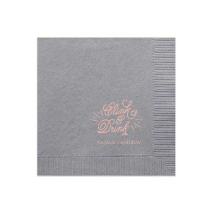 Our custom Slate Cocktail Napkin with Shiny Champagne Foil has a Clink graphic and is good for use in Wedding, Words, Calligraphy themed parties and are a must-have for your next event—whatever the celebration!