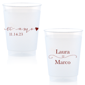 The ever-popular Matte Merlot Ink 12 oz Frost Flex Cup with Matte Merlot Ink Screen Print has a Ti Amo graphic and a Simple Heart Flourish graphic and is good for use in Frames themed parties and will add that special attention to detail that cannot be overlooked.