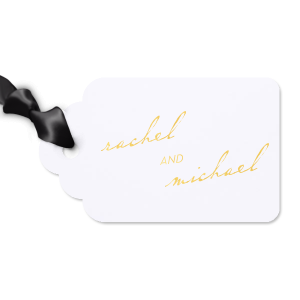 ForYourParty's personalized Natural Frost White Luggage Gift Tag with Shiny 18 Kt Gold Foil will impress guests like no other. Make this party unforgettable.