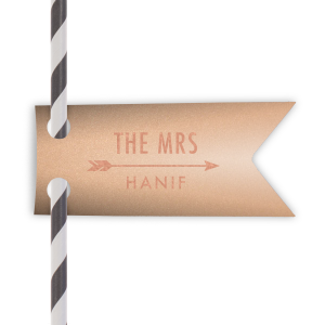 ForYourParty's elegant Stardream Rose Gold Double Point Straw Tag with Shiny Rose Gold Foil has a Arrow 1 graphic and is good for use in Accents, Frames, Wedding themed parties and will add that special attention to detail that cannot be overlooked.