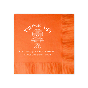 ForYourParty's personalized Tangerine Cocktail Napkin with Matte White Foil Color has a Mummy graphic and is good for use in Halloween themed parties and will give your party the personalized touch every host desires.