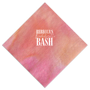 Does the bride love to party? Celebrate her bachelorette with this custom Fuchsia napkin that will be a fabulous addition to the day! Personalize it with the bride's name for a bar and finger food detail she'll love.