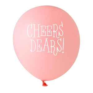 Personalized Pink Designer Balloon with White Ink Color has a Cheers dears graphic and is good for use in Words themed parties and will impress guests like no other. Make this party unforgettable.