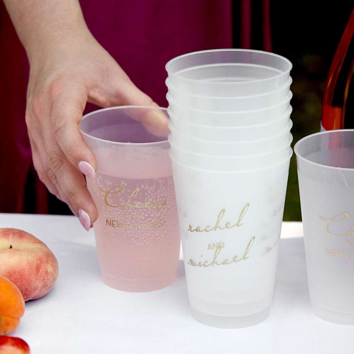 personalized wedding napkins cups matches stir sticks