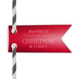 Personalized Poptone Convertible Red Double Point Straw Tag with Matte White Foil Color will make your guests swoon. Personalize your party's theme today.