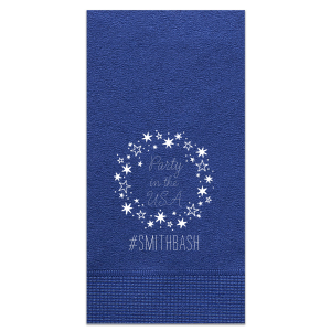 Our custom Light Navy Cocktail Napkin with Matte White Foil has a Star Frame graphic and is good for use in Frames, Stars themed parties and will add that special attention to detail that cannot be overlooked.