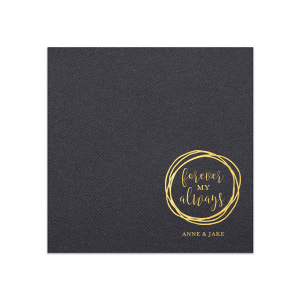 Our custom Soft Black Luncheon Napkin with Shiny 18 Kt Gold Foil has a Circle Doodle Frame graphic and is good for use in Frames themed parties and will look fabulous with your unique touch. Your guests will agree!