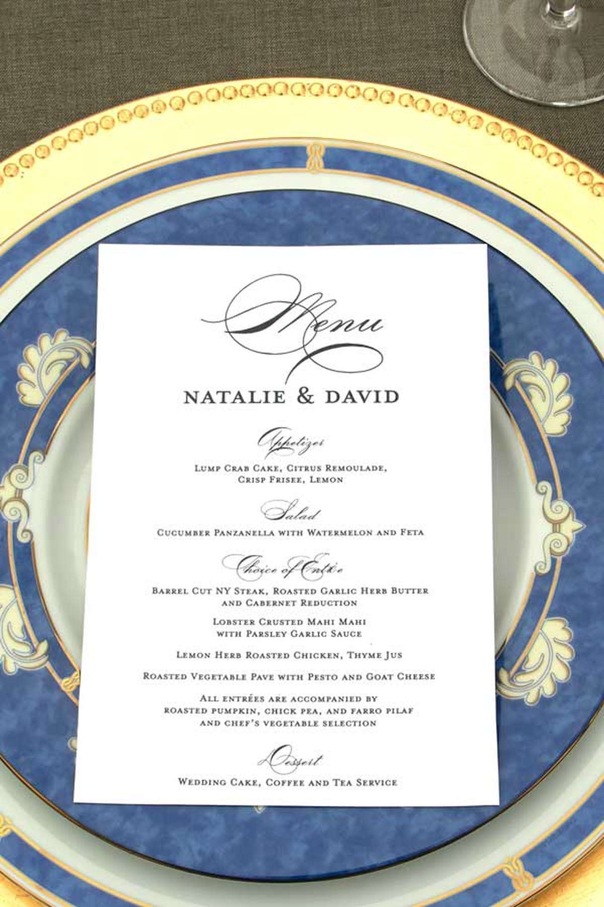 foil stamped wedding menus