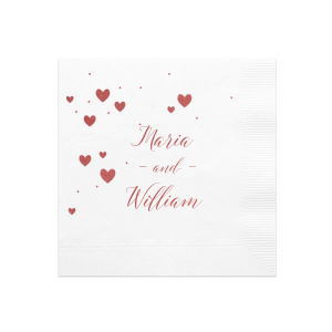 Our personalized White Borderless Cocktail Napkin with Shiny Rose Quartz Foil has a Hearts in Sky graphic and is good for use in Full Bleed, Hearts themed parties and will impress guests like no other. Make this party unforgettable.