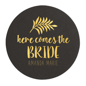 "Tropical Bridal - White - Round Coasters - Personalized - Set of 75 - 4 x 4"""" by ForYourParty.com"