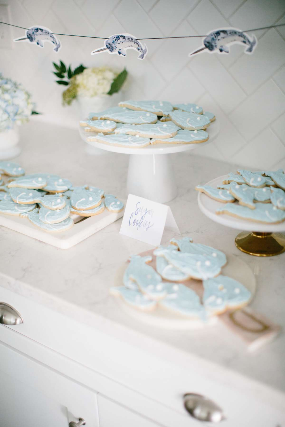 narwhal themed baby boy baby shower dessert ideas
