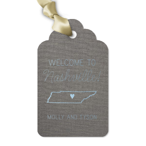 Our personalized Linen Slate Arch Gift Tag with Shiny Sky Blue Foil has a Tennessee graphic and is good for use in State and Welcome themed parties and will add that special attention to detail that cannot be overlooked.