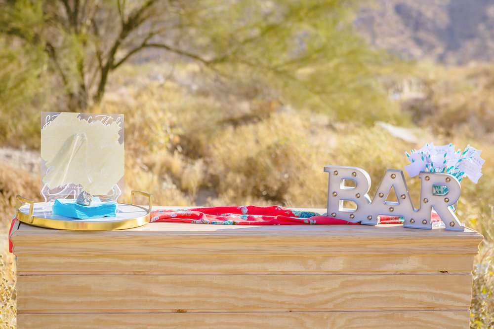 desert elopement pictures with boho trendy bar