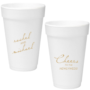 Our custom Gold Ink 12 oz Styrofoam Cup with Gold Ink Cup Ink Colors will look fabulous with your unique touch. Your guests will agree!