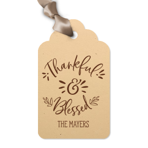 ForYourParty's chic Natural Sand Wine Hang Tag with Matte Chocolate Foil can be personalized to match your party's exact theme and tempo.