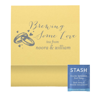 Give a wedding favor to your taste with a custom tea favor! Personalize with your theme colors, add your names (or new last name!) and share your love's favorite brew. Your colors with our elegant calligraphy and Wedding Rings graphic will make for a beautiful detail guests will love.