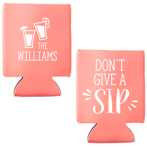 ForYourParty's personalized Coral Flat Can Cooler with Matte White Ink Cup Ink Colors has a Drinks graphic and will look fabulous with your unique touch. Your guests will agree!