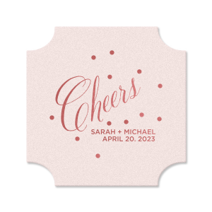 Custom Eggshell Round Coaster with Shiny Rose Quartz Foil can be personalized to match your party's exact theme and tempo.
