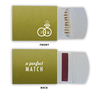 Our custom Poptone Dark Olive Classic Matchbox with Matte White Foil has a Wedding Rings 2 graphic and is good for use in Wedding themed parties and can be personalized to match your party's exact theme and tempo.