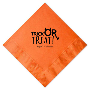 Custom Tangerine Cocktail Napkin with Matte Black Foil can be customized to complement every last detail of your party.