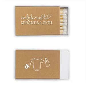 Our personalized Natural Kraft/Latte Lipstick Matchbox with Matte White Foil has a Baby Stuff graphic and is good for use in Baby Shower themed parties and can be customized to complement every last detail of your party.